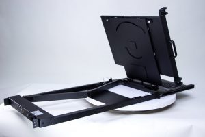 1U rack monitor rear view